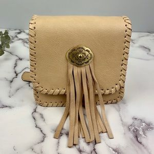 Street Level 2 in 1 Southwestern Fringe Beige Bag